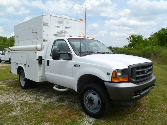 2001 FORD F450 ENCLOSED UTILITY white fully enclosed stand up room knapheide service body power